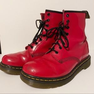 MAKE AN OFFER red patent leather doc martens